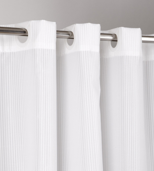 Shower Curtain Hookless Satin Stripe White :: Tony Colyer ...